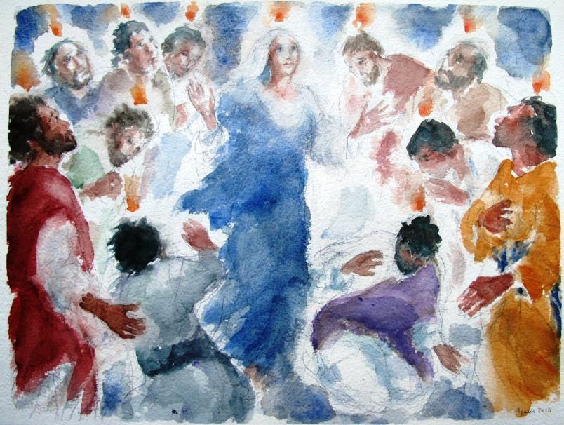 Pentecoste, acquarello di Maria Cavazzini Fortini, maggio 2014