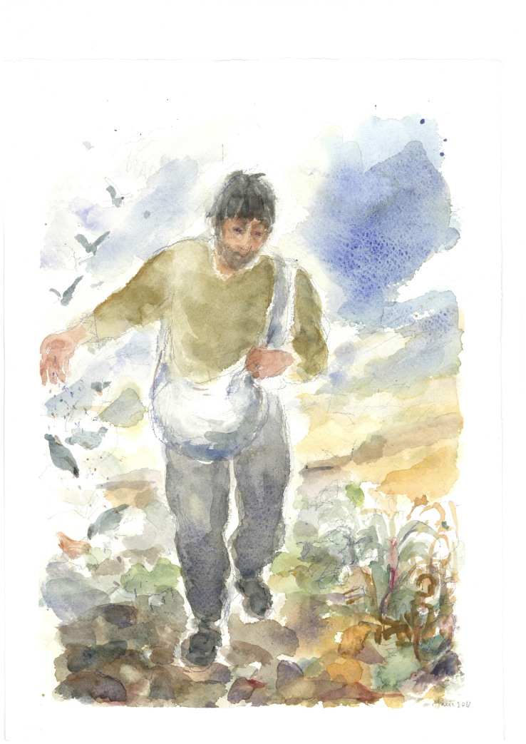 Il seme e il seminatore, acquarello di Maria Cavazzini Fortini, luglio 2012