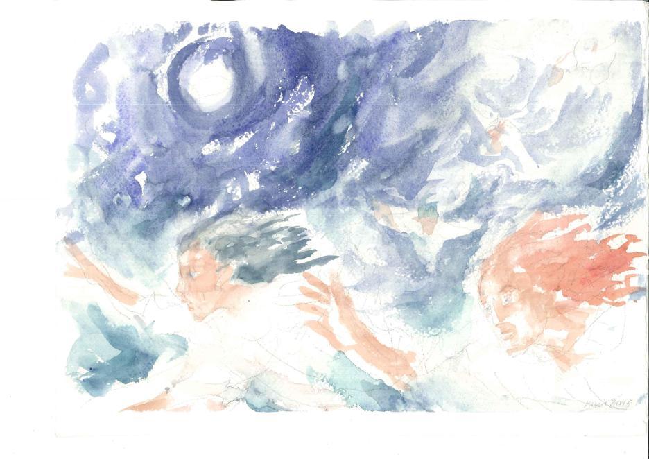Il figlio dell'uomo venire sulle nubi, acquarello di Maria Cavazzini Fortini, novembre 2015