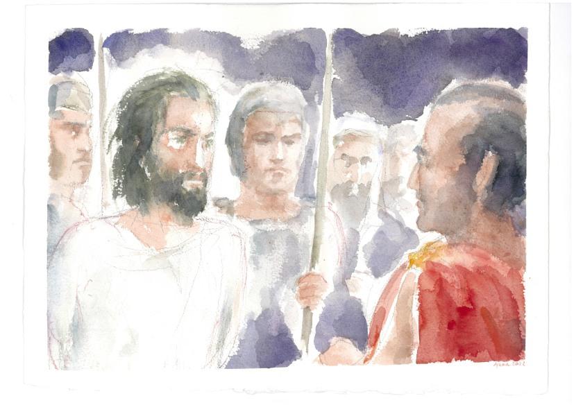 Sei tu il re dei giudei? Acquarello di Maria Cavazzini Fortini, novembre 2015