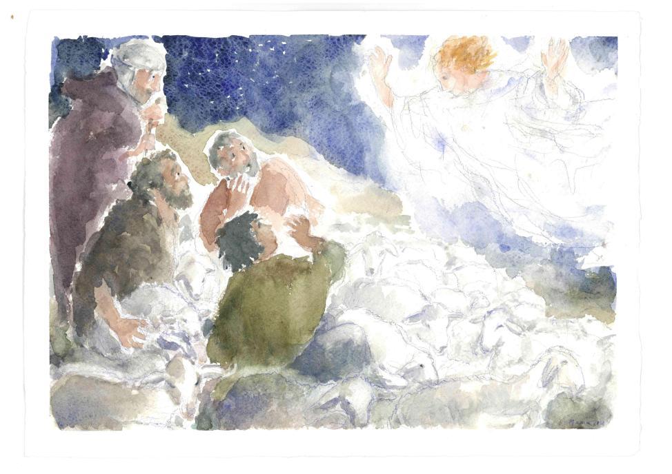 L'annuncio degli angeli ai pastori, Acquarello di Maria Cavazzini Fortini, dicembre 2014