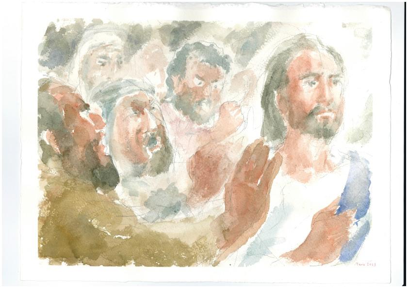 Gesù cacciato fuori da Nazareth, Acquarello di Maria Cavazzini Fortini,