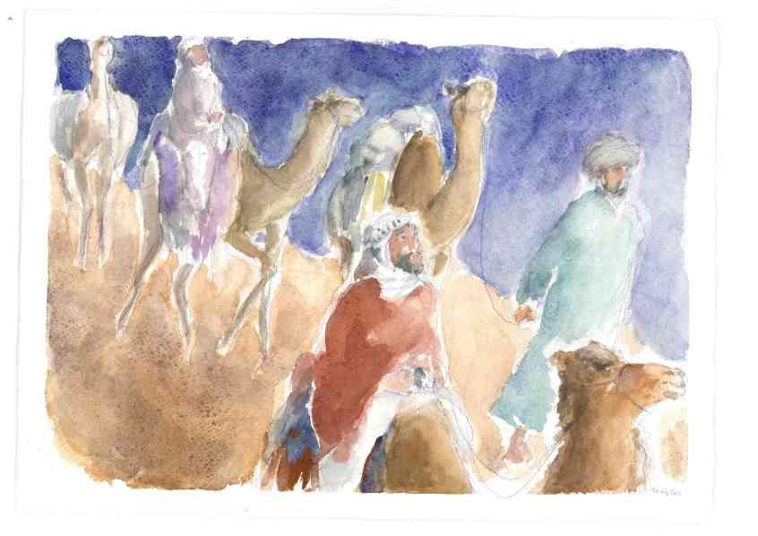 Il viaggio dei re Magi, Acquarello di Maria Cavazzini Fortini, dicembre 2014