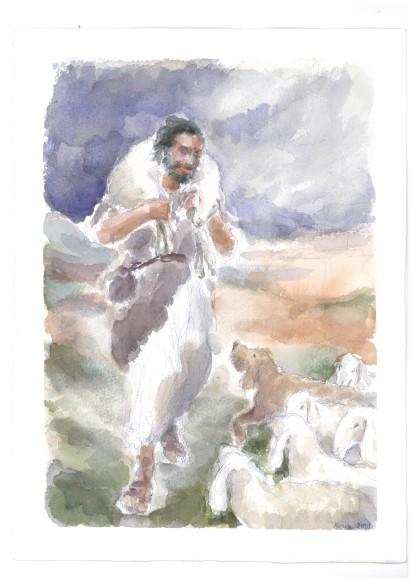 Io sono il buon pastore, acquarello di Maria Cavazzini Fortini, maggio 2012
