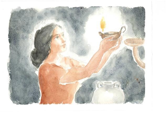 La tua parola è lampada, acquarello di Maria Cavazzini Fortini, ottobre 2013