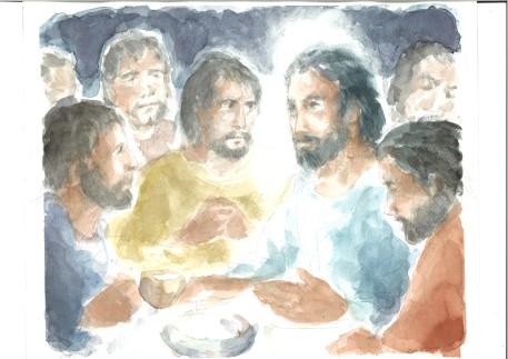 Gesù e i suoi al Cenacolo, acquarello di Maria Cavazzini Fortini, maggio 2015