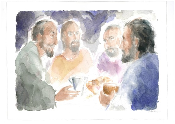 Alla tavola di Simone il fariseo, acquarello di Maria Cavazzini Fortini, giugno 2012