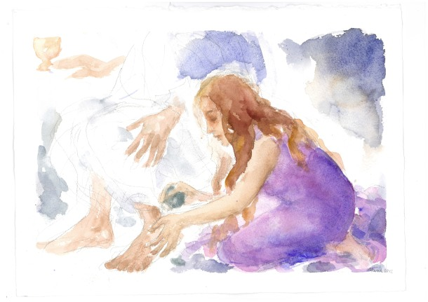 Presso i suoi piedi, acquarello di Maria Cavazzini Fortini, giugno 2012