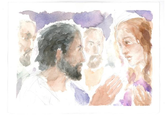 La tua fede ti ha salvato, acquarello di Maria Cavazzini Fortini, giugno 2012