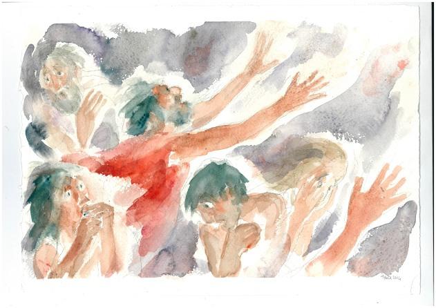 Il ricco negli inferi, acquarello di Maria Cavazzini Fortini, settembre 2013