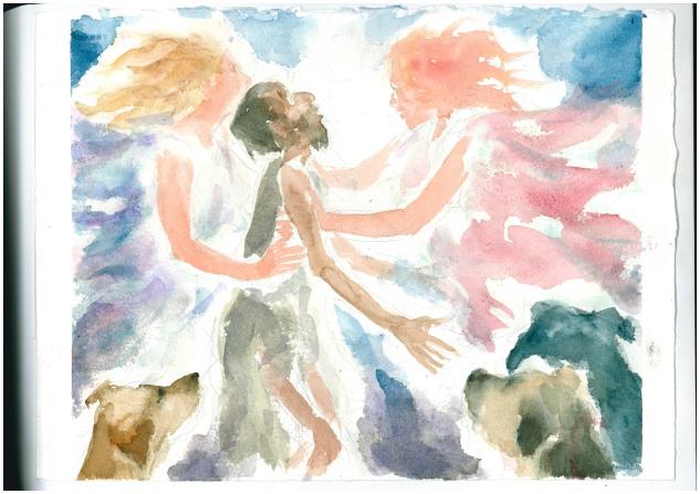 Lazzaro portato dagli angeli, acquarello di Maria Cavazzini Fortini, settembre 2013