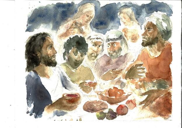 Gesù a casa di Zaccheo, acquarello di Maria Cavazzini Fortini, ottobre 2016