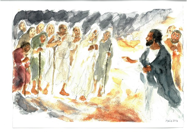 I dieci lebbrosi incontrano Gesù, acquarello di Maria Cavazzini Fortini, ottobre 2016