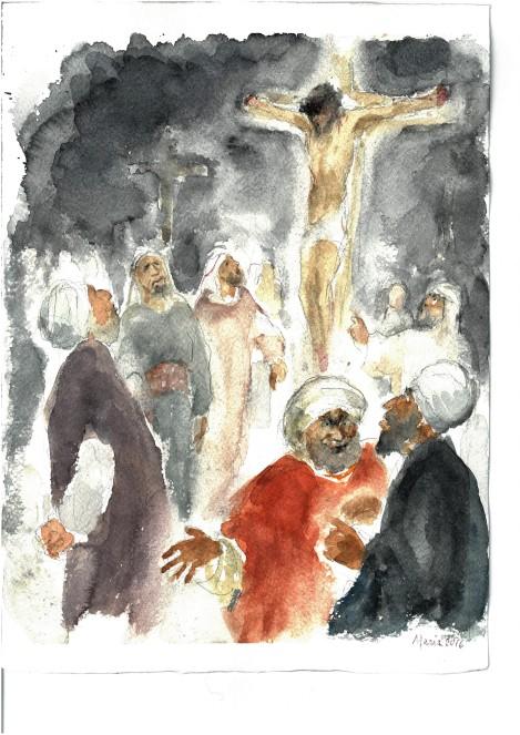 I capi deridevano Gesù, acquarello di Maria Cavazzini Fortini, novembre 2016