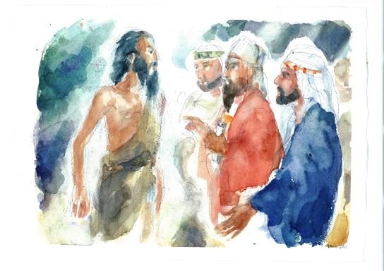 Giovanni con i farisei e i sadducei, acquarello di Maria Cavazzini Fortini, dicembre 2016