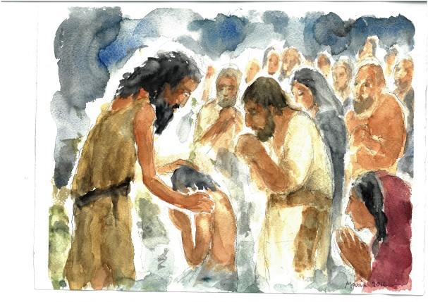 Si facevano battezzare da lui, acquarello di Maria Cavazzini Fortini, dicembre 2016