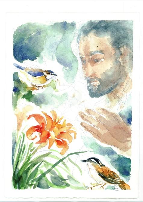 Guardate gli uccelli e i fiori, acquarello di Maria Cavazzini Fortini, aprile 2013