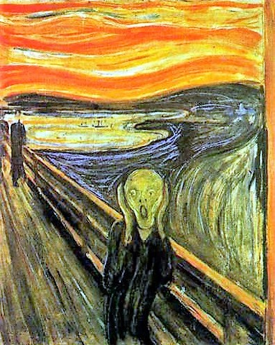 L'urlo, E.Munch, 2a versione su cartone in olio, tempera e pastello, 1893
