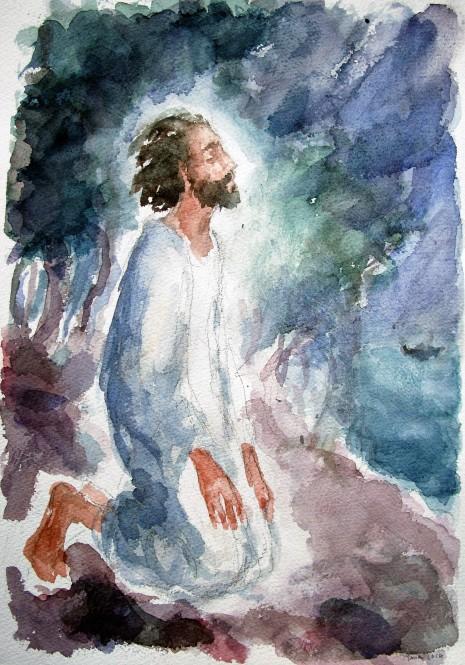 Gesù solo a pregare
